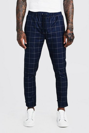 Mens Navy Large Windowpane Check Smart Cropped Jogger