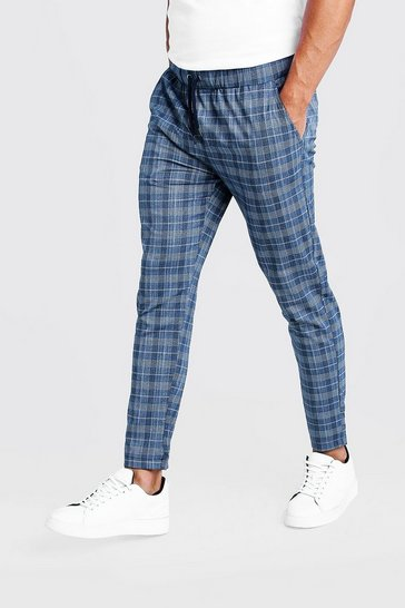 Mens Blue Check Smart Cropped Jogger Trouser