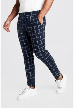 Herr Navy Large Windowpane Check Smart Jogger