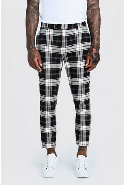 Mens Blue Summer Tartan Smart Cropped Formal Trouser