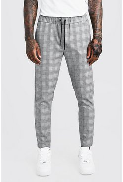 Mens Purple Check Detail Smart Jogger Trouser