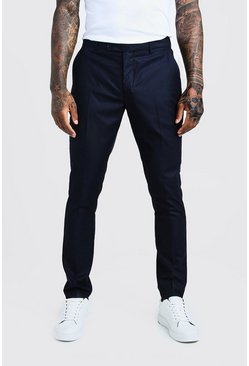 Navy Self Stripe Smart Pleat Front Trouser