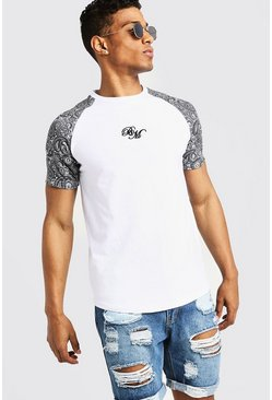 Mens White BM Muscle Fit Printed Raglan T-Shirt
