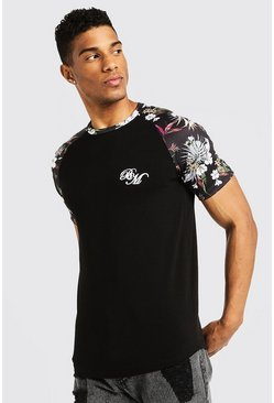 Mens Black BM Muscle Fit Printed Raglan T-Shirt
