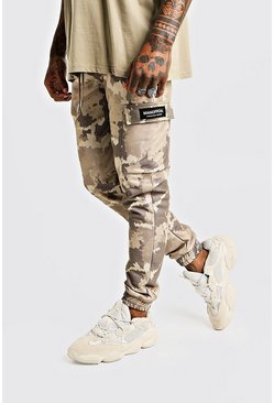 Mens Skinny Camo Cargo Joggers With MAN Tab
