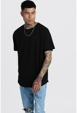 Basic Loose Fit Curved Hem T-Shirt, Black, HOMMES