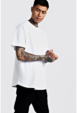 Basic Loose Fit Curved Hem T-Shirt, White, HERREN