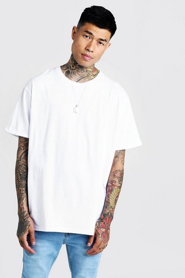 Mens White Basic Loose Fit Rolled Sleeve T-Shirt