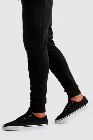 Mens Black Lace Up Plimsolls