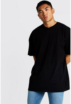 Black Basic Oversized Longline Short V Neck T-Shirt