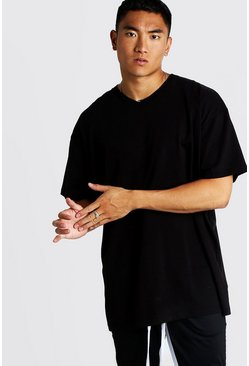 Mens Black Basic Oversized Longline V Neck T-Shirt