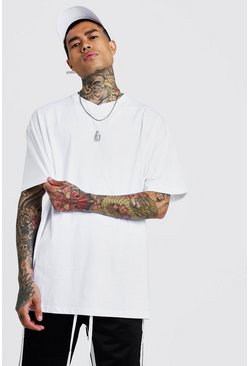 Mens White Basic Oversized Short V Neck T-Shirt
