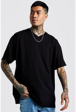 Basic Oversized V Neck Rolled Sleeve T-Shirt, Black, HERREN