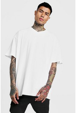 Mens White Basic Oversized V Neck T-Shirt