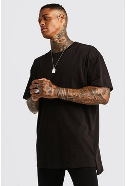 Mens Black Basic Oversized Longline Step Hem T-Shirt