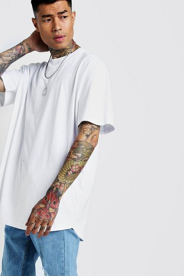 Mens White Basic Oversized Longline Curved Hem T-Shirt