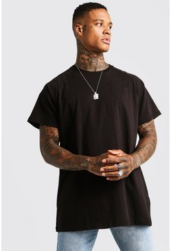 Mens Black Basic Oversized Longline Raglan T-Shirt