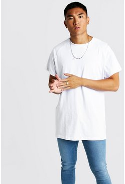 Mens White Basic Oversized Longline Raglan T-Shirt