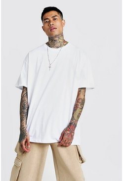 Basic Oversized Longline Rolled Sleeve T-Shirt, White, HOMMES