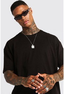Mens Black Basic Oversized Longline T-Shirt