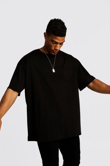 Mens Black Basic Oversized Pocket T-Shirt