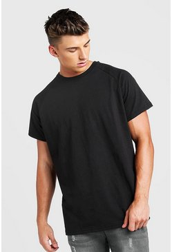 Mens Black Basic Oversized Raglan T-Shirt