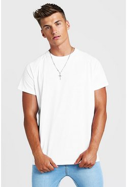 Mens White Basic Oversized Raglan T-Shirt