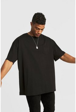 Basic Oversized Rolled Sleeve T-Shirt, Black, HERREN