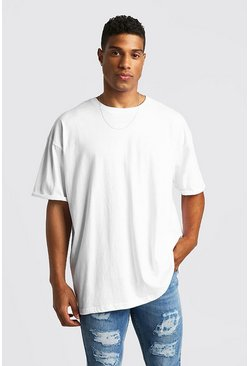 Mens White Basic Oversized Rolled Sleeve T-Shirt