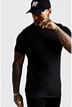 Mens Black Basic Muscle Longline Short V Neck T-Shirt