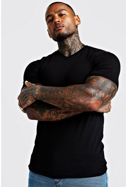 Mens Black Basic Muscle V Neck Rolled Sleeve T-Shirt