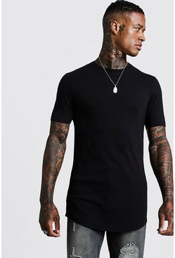 Mens Black Basic Muscle Longline Curved Hem T-Shirt