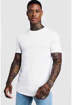 Mens White Basic Muscle Longline Curved Hem T-Shirt