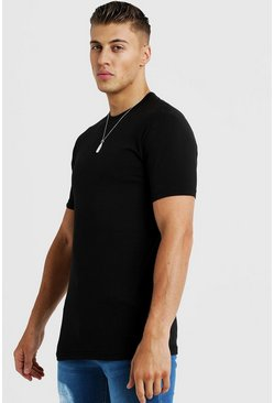 Basic Muscle Fit Longline Raglan T-Shirt, Black, HOMBRE