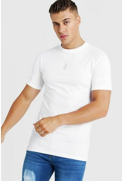 Mens White Basic Muscle Fit Longline Raglan T-Shirt