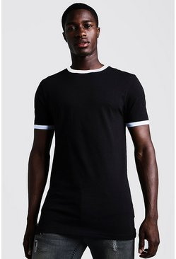 T-shirt basique coupe Fit long à bords contrastés, Noir, Homme