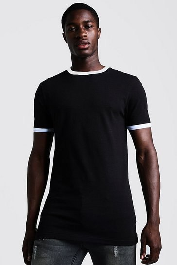Mens Black Basic Muscle Fit Longline Ringer T-Shirt
