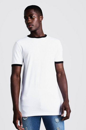 Mens White Basic Muscle Fit Longline Ringer T-Shirt