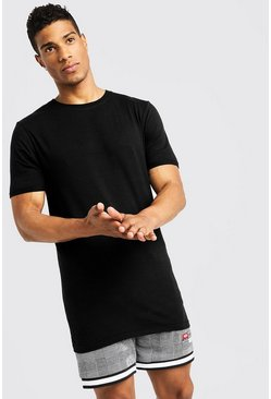 Mens Black Basic Muscle Longline Rolled Sleeve T-Shirt