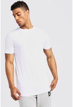 Mens White Basic Muscle Longline Rolled Sleeve T-Shirt