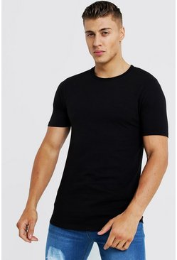 Mens Black Basic Muscle Fit Curved Hem T-Shirt