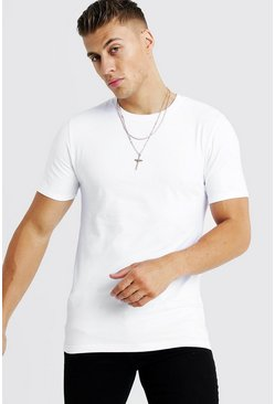 Mens White Basic Muscle Fit Curved Hem T-Shirt
