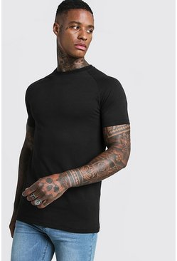Mens Black Basic Muscle Fit Raglan T-Shirt