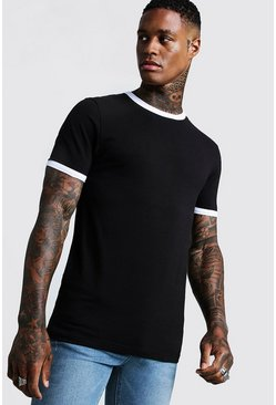 Black Basic Muscle Fit Ringer T-Shirt