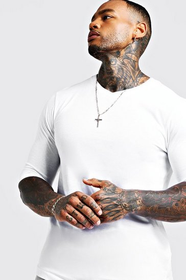 Mens White Basic 3/4 Sleeve Curved Hem V Neck T-Shirt