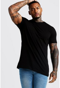 Basic Longline High V Neck Rolled Sleeve T-Shirt, Black, HOMBRE