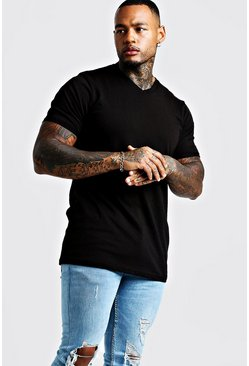 Mens Black Basic Longline V Neck Rolled Sleeve T-Shirt