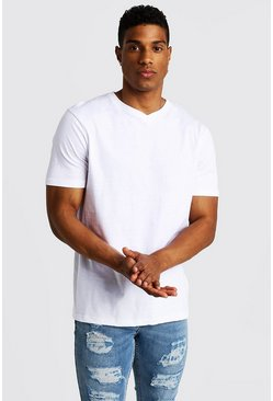 Basic High V Neck T-Shirt, White, HERREN