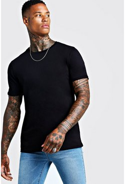 Mens Black Basic Rolled Sleeve T-Shirt