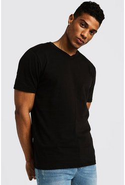 Basic V Neck T-Shirt, Black, HERREN